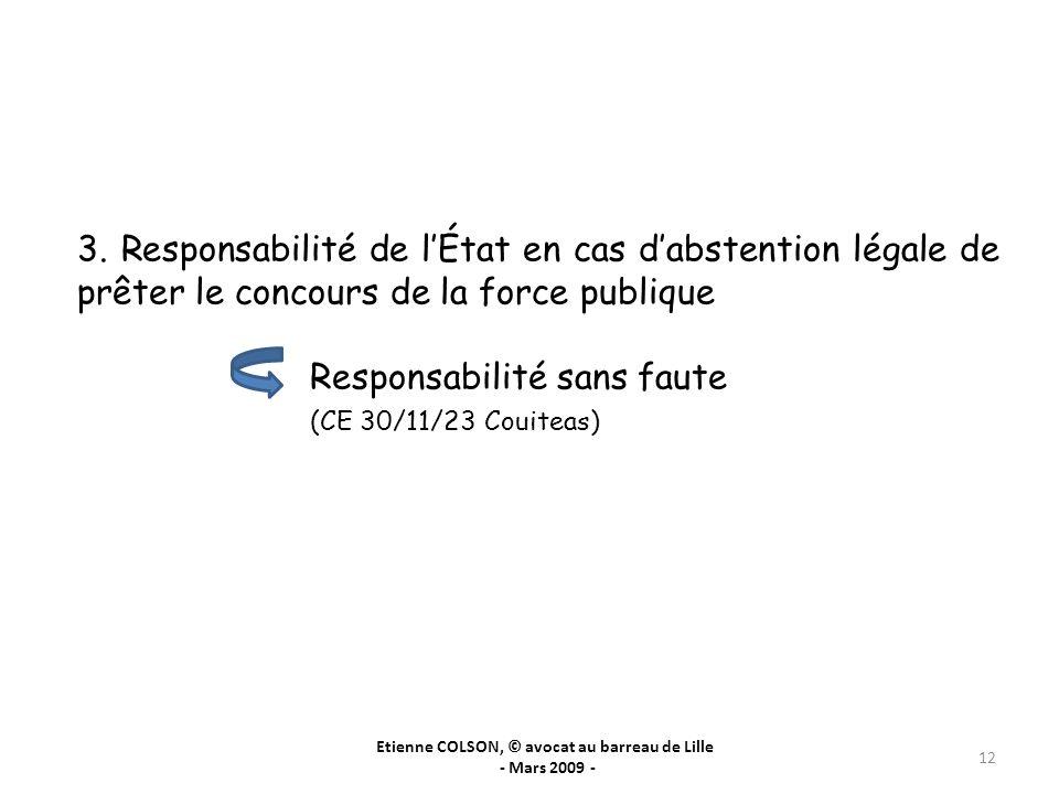 Etienne COLSON, © avocat au barreau de Lille - Mars 2009 - 12 3. Responsabilité de lÉtat en cas dabstention légale de prêter le concours de la force p