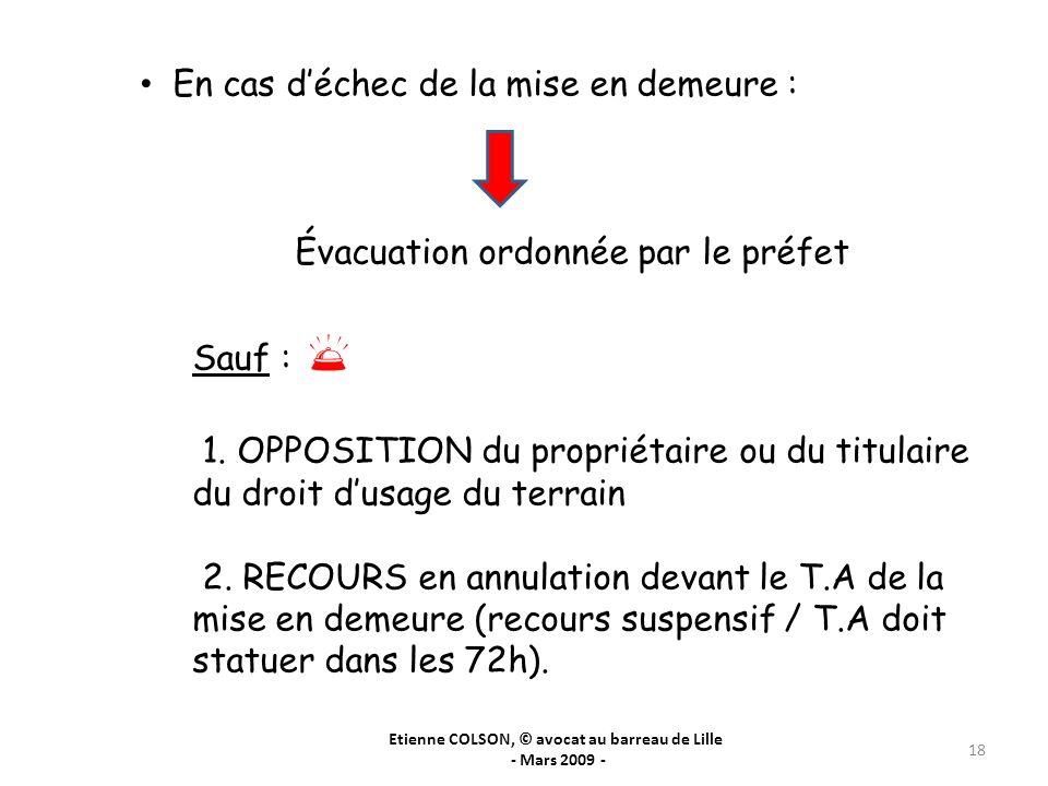 Etienne COLSON, © avocat au barreau de Lille - Mars 2009 - 18 En cas déchec de la mise en demeure : Évacuation ordonnée par le préfet Sauf : 1. OPPOSI