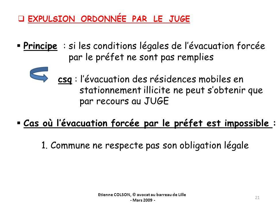 Etienne COLSON, © avocat au barreau de Lille - Mars 2009 - 21 EXPULSION ORDONNÉE PAR LE JUGE Principe : si les conditions légales de lévacuation forcé