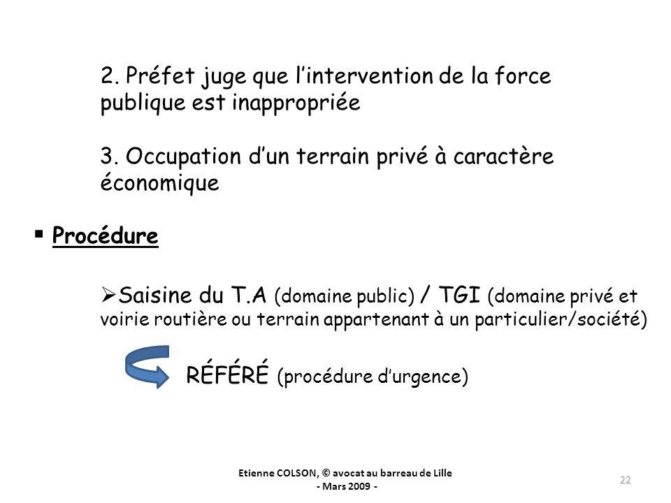 Etienne COLSON, © avocat au barreau de Lille - Mars 2009 - 22 2. Préfet juge que lintervention de la force publique est inappropriée 3. Occupation dun