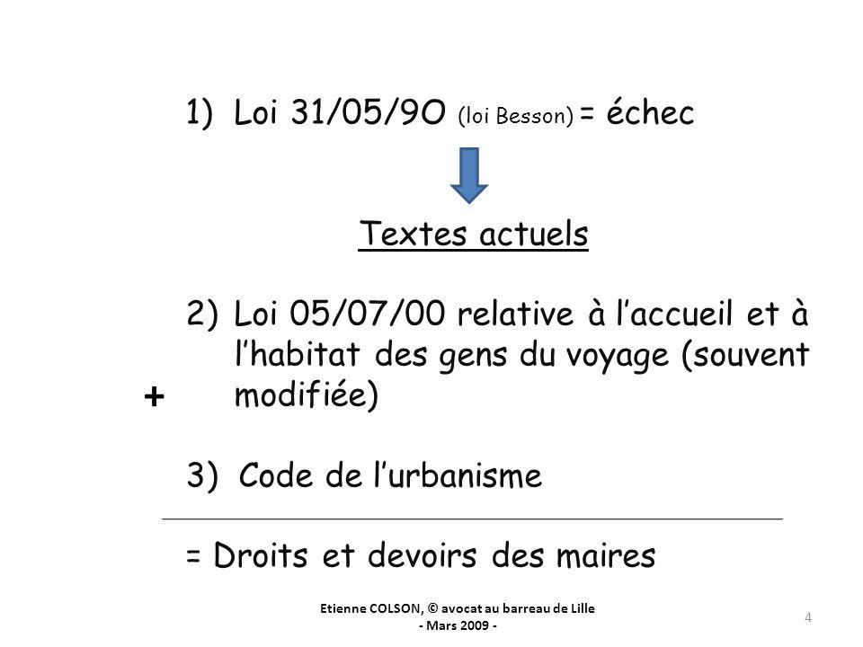 Etienne COLSON, © avocat au barreau de Lille - Mars 2009 - 4 1)Loi 31/05/9O (loi Besson) = échec Textes actuels 2)Loi 05/07/00 relative à laccueil et