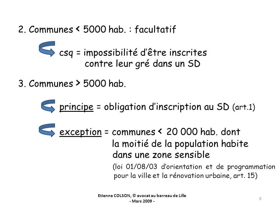 Etienne COLSON, © avocat au barreau de Lille - Mars 2009 - 6 2. Communes < 5000 hab. : facultatif csq = impossibilité dêtre inscrites contre leur gré