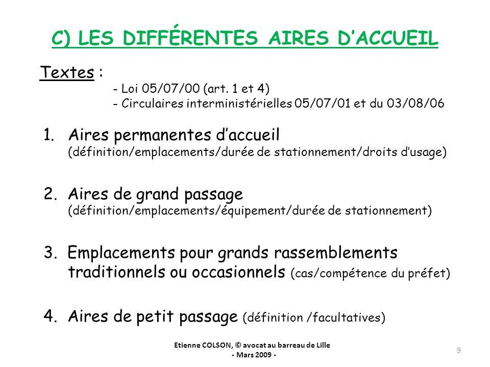 C) LES DIFFÉRENTES AIRES DACCUEIL Etienne COLSON, © avocat au barreau de Lille - Mars 2009 - 9 Textes : - Loi 05/07/00 (art. 1 et 4) - Circulaires int