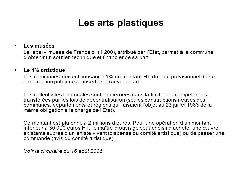 Les arts plastiques Les musées Le label « musée de France » (1 200), attribué par lEtat, permet à la commune dobtenir un soutien technique et financier de sa part.