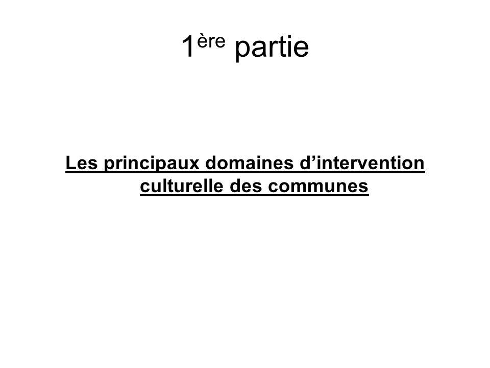 1 ère partie Les principaux domaines dintervention culturelle des communes