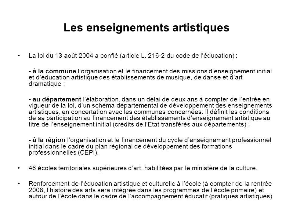 Les enseignements artistiques La loi du 13 août 2004 a confié (article L.