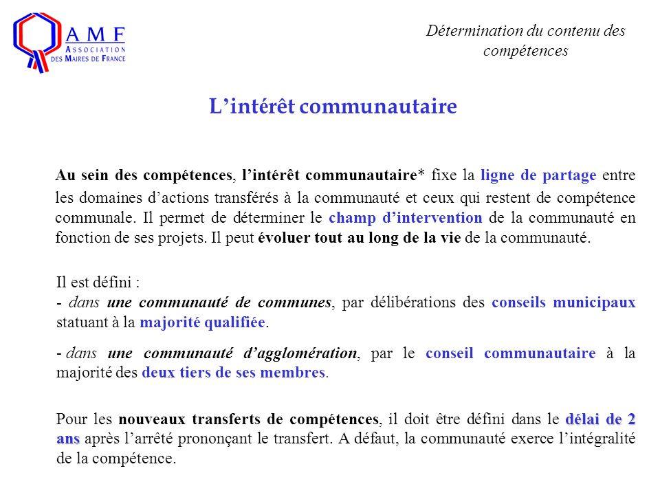 L int é rêt communautaire Au sein des compétences, lintérêt communautaire* fixe la ligne de partage entre les domaines dactions transférés à la communauté et ceux qui restent de compétence communale.