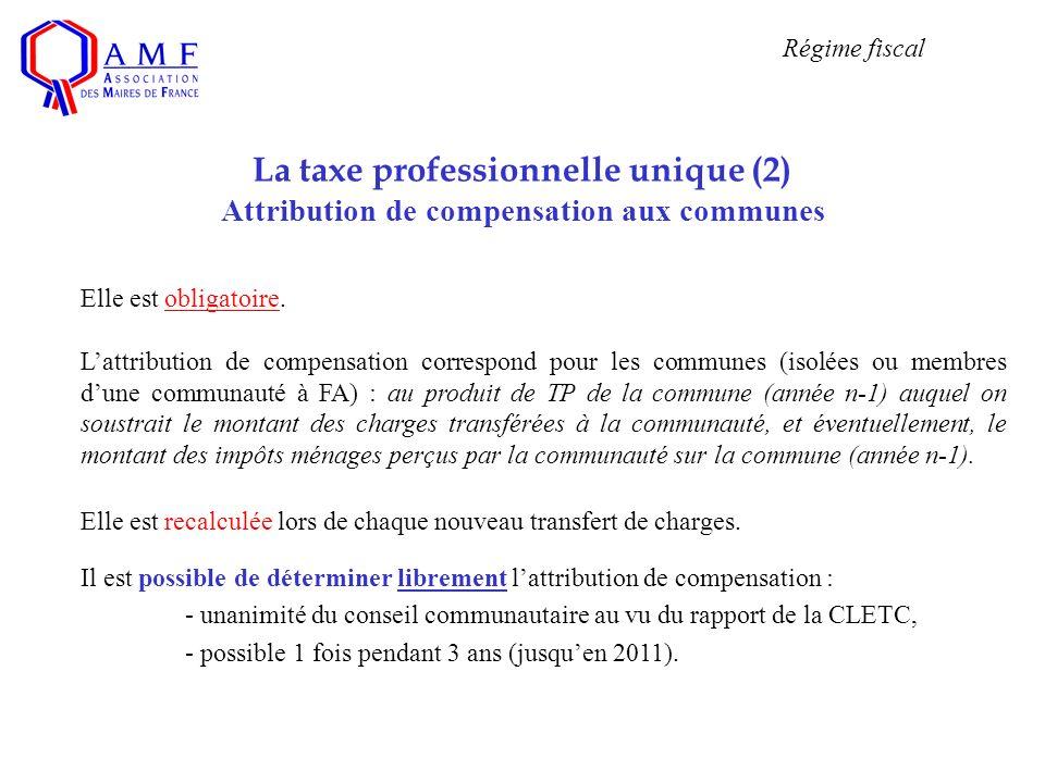 La taxe professionnelle unique (2) Attribution de compensation aux communes Elle est obligatoire. Lattribution de compensation correspond pour les com