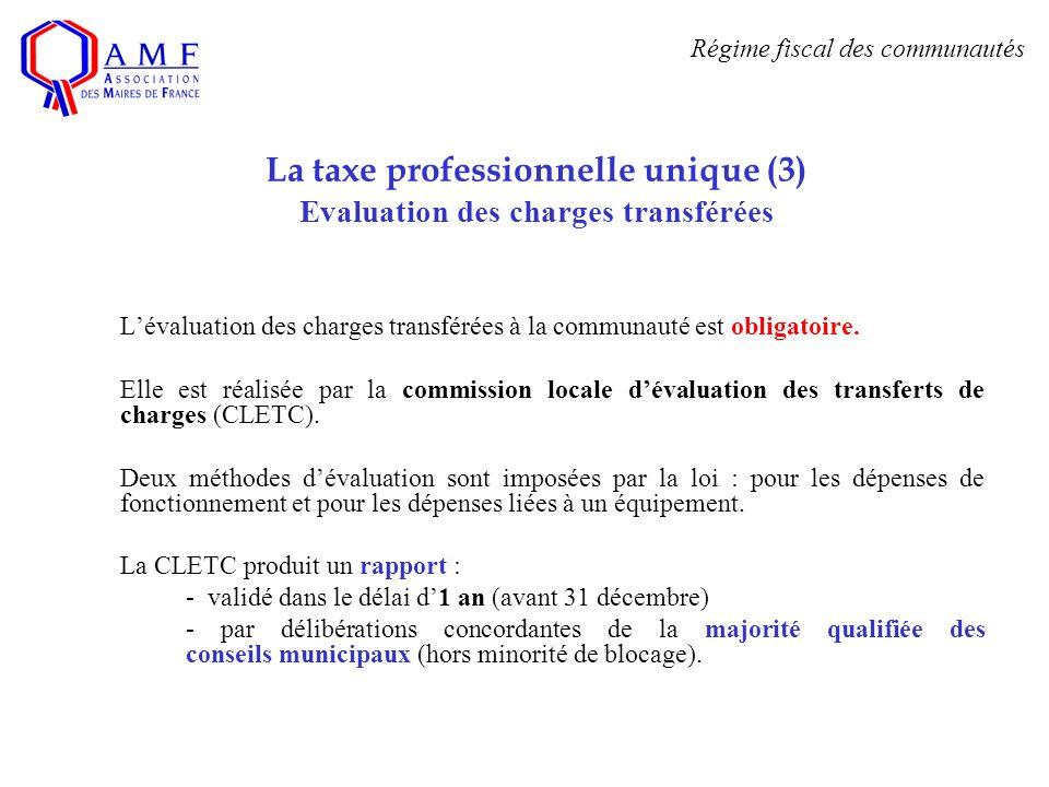 La taxe professionnelle unique (3) Evaluation des charges transférées Lévaluation des charges transférées à la communauté est obligatoire. Elle est ré