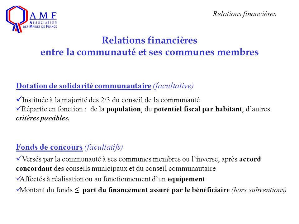 Dotation de solidarité communautaire (facultative) Instituée à la majorité des 2/3 du conseil de la communauté Répartie en fonction : de la population, du potentiel fiscal par habitant, dautres critères possibles.