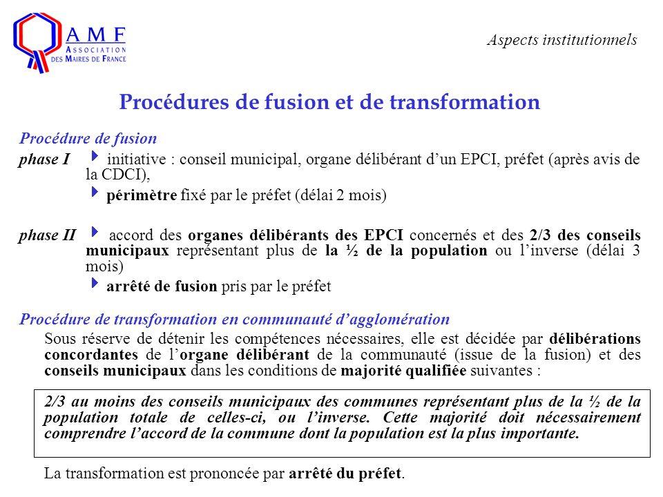 Aspects institutionnels Proc é dures de fusion et de transformation Procédure de fusion phase I initiative : conseil municipal, organe délibérant dun
