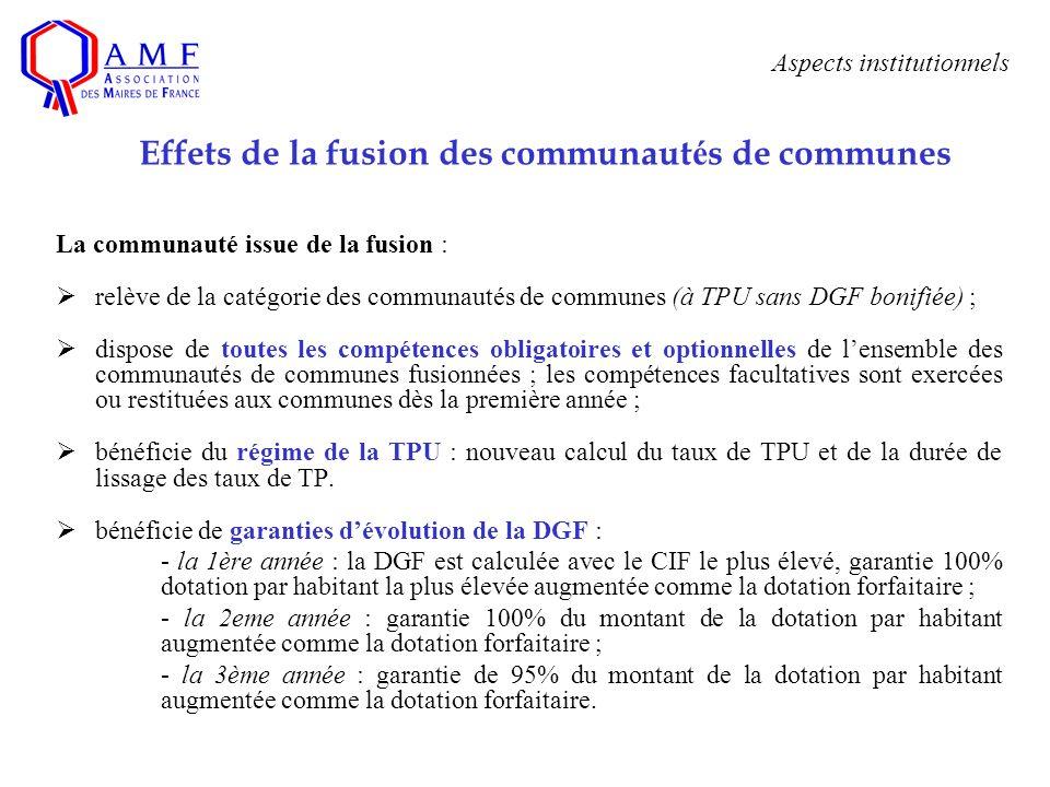La communauté issue de la fusion : relève de la catégorie des communautés de communes (à TPU sans DGF bonifiée) ; dispose de toutes les compétences ob