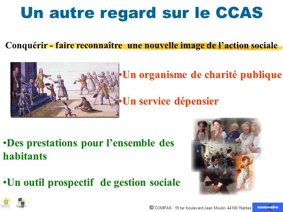COMPAS : 15 ter boulevard Jean Moulin, 44100 Nantes 02.51.80.69.80 Un autre regard sur le CCAS Un organisme de charité publique Un service dépensier D