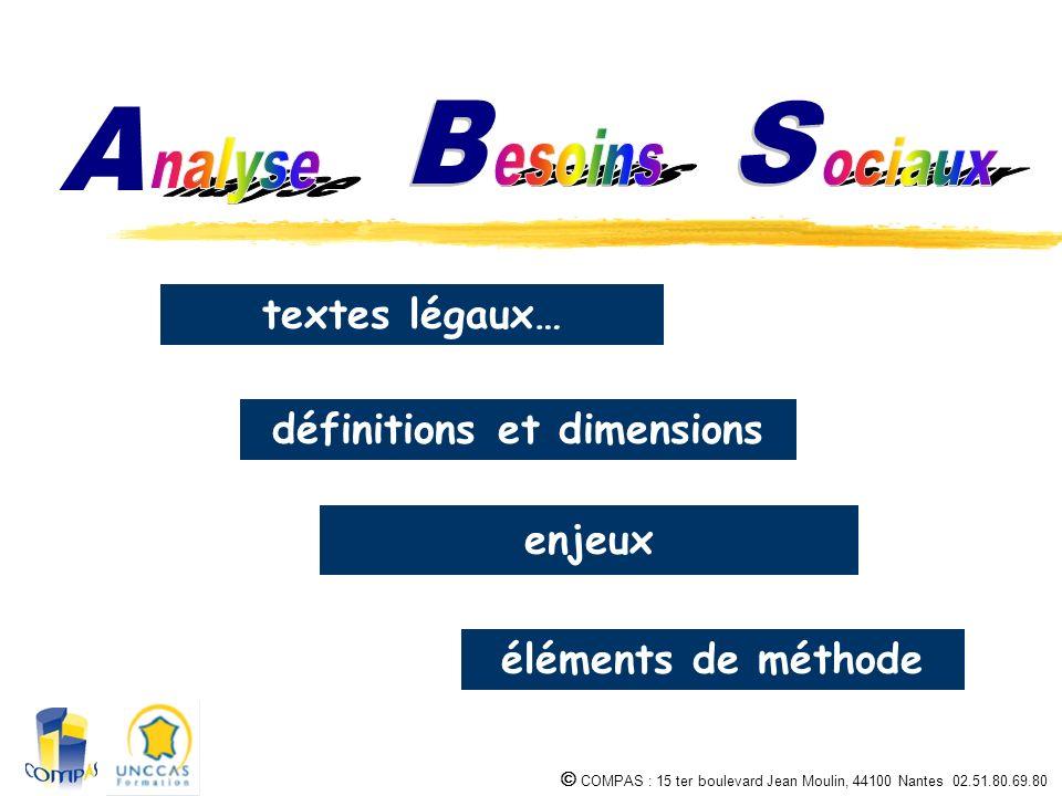 COMPAS : 15 ter boulevard Jean Moulin, 44100 Nantes 02.51.80.69.80 textes légaux… définitions et dimensions enjeux éléments de méthode