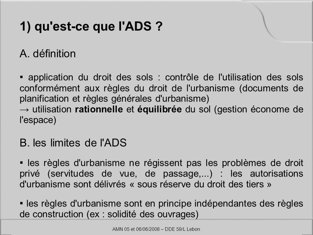 1) qu'est-ce que l'ADS ? A. définition application du droit des sols : contrôle de l'utilisation des sols conformément aux règles du droit de l'urbani