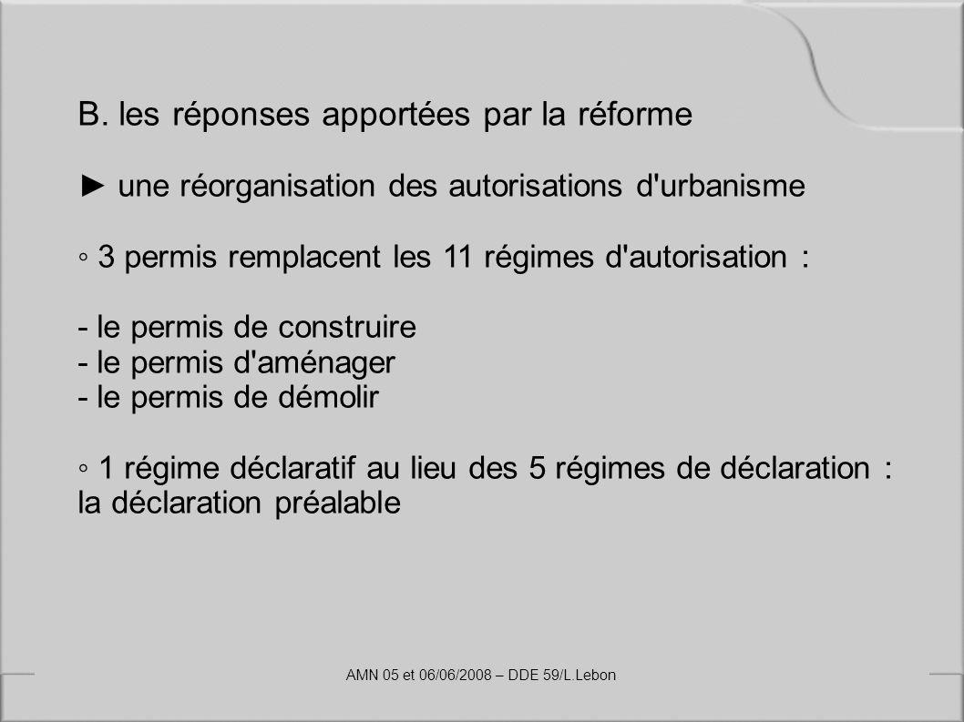B. les réponses apportées par la réforme une réorganisation des autorisations d'urbanisme 3 permis remplacent les 11 régimes d'autorisation : - le per