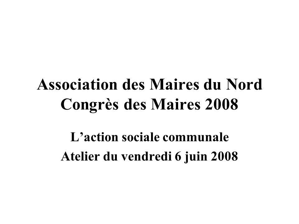 Association des Maires du Nord Congrès des Maires 2008 Laction sociale communale Atelier du vendredi 6 juin 2008