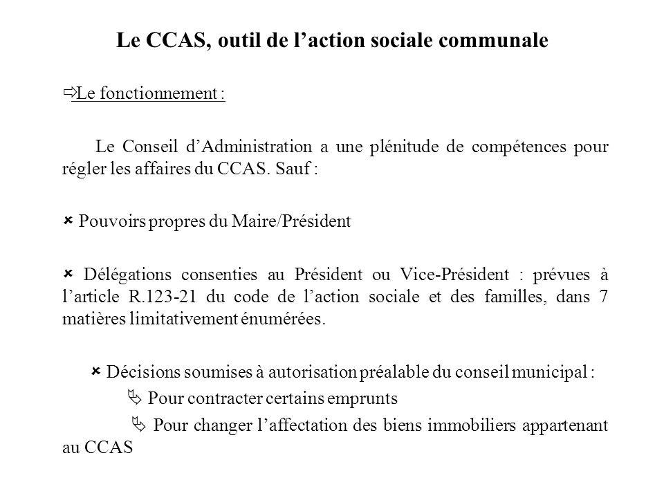 Le CCAS, outil de laction sociale communale Le fonctionnement : Le Conseil dAdministration a une plénitude de compétences pour régler les affaires du