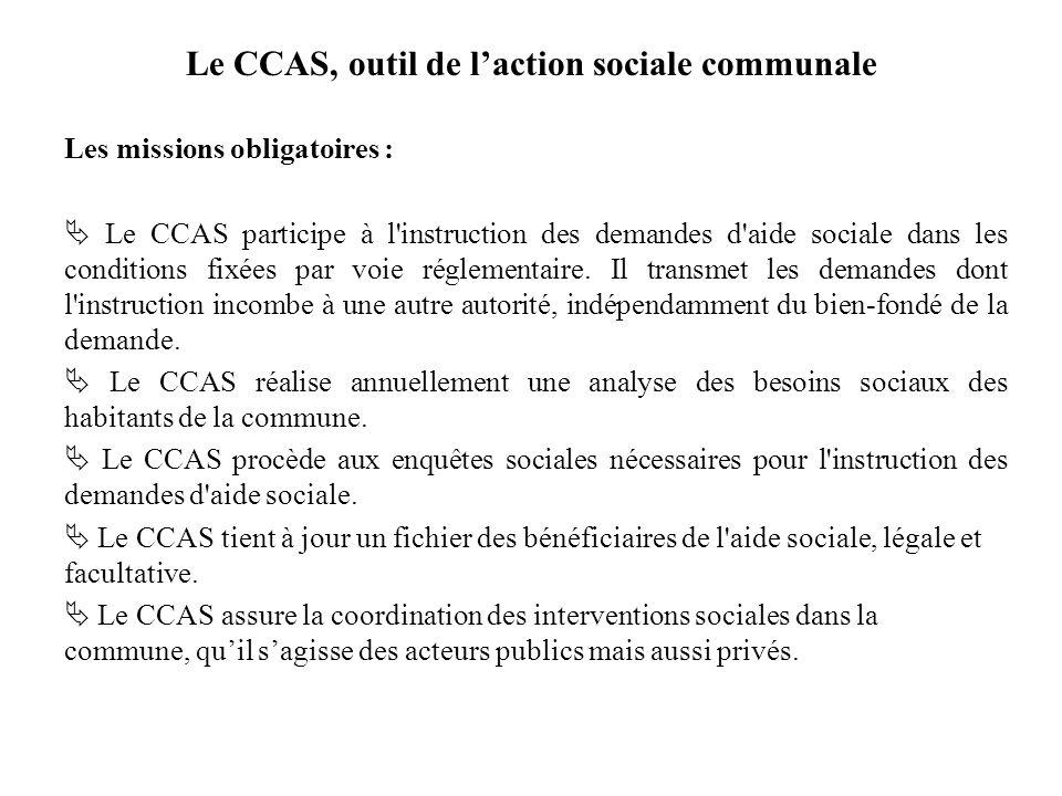 Le CCAS, outil de laction sociale communale Les missions obligatoires : Le CCAS participe à l'instruction des demandes d'aide sociale dans les conditi