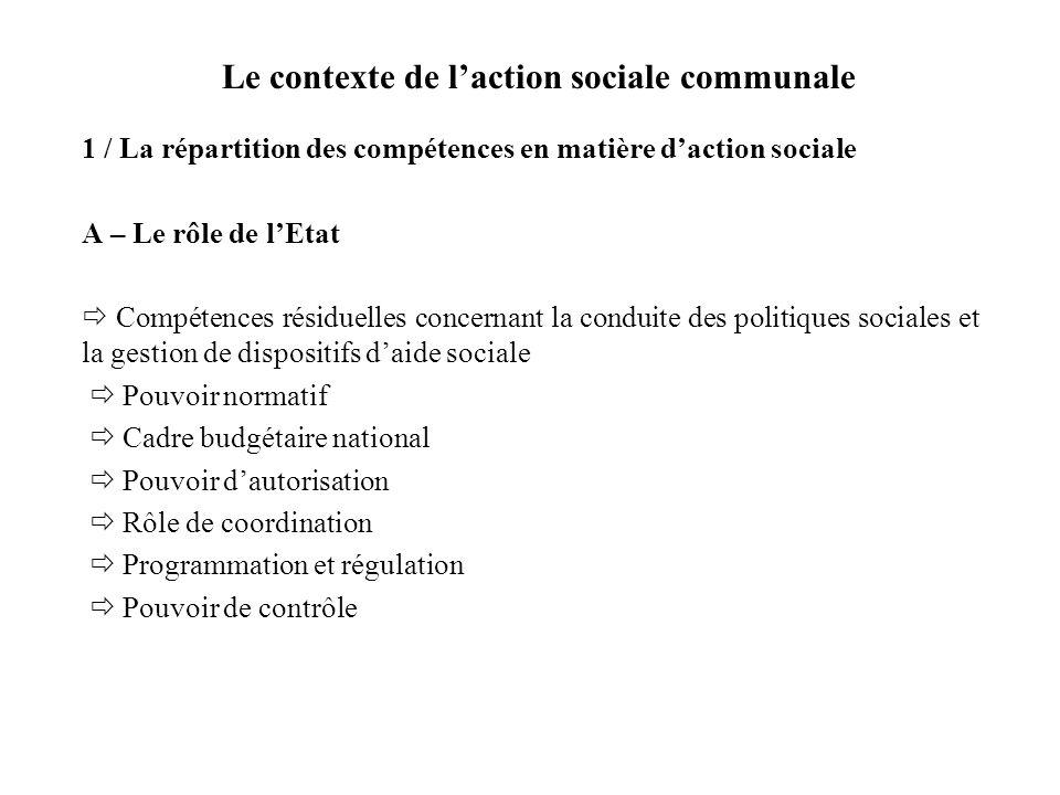 Le contexte de laction sociale communale 1 / La répartition des compétences en matière daction sociale A – Le rôle de lEtat Compétences résiduelles co
