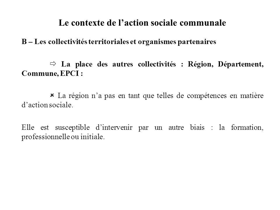 Le contexte de laction sociale communale B – Les collectivités territoriales et organismes partenaires La place des autres collectivités : Région, Dép
