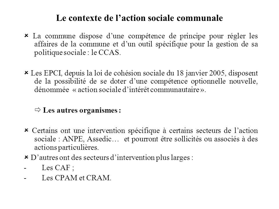 Le contexte de laction sociale communale La commune dispose dune compétence de principe pour régler les affaires de la commune et dun outil spécifique