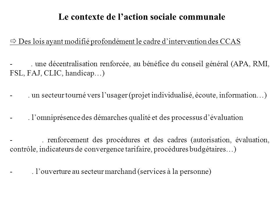 Le contexte de laction sociale communale Des lois ayant modifié profondément le cadre dintervention des CCAS -. une décentralisation renforcée, au bén