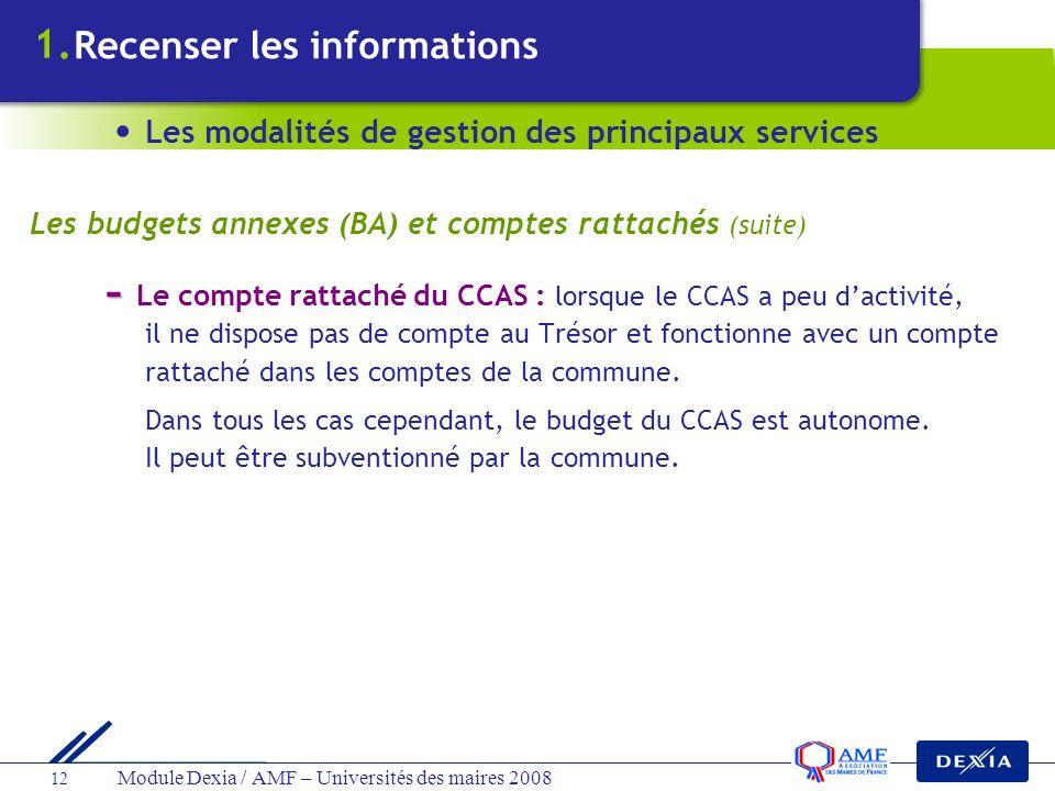 Module Dexia / AMF – Universités des maires 2008 12 - - Le compte rattaché du CCAS : lorsque le CCAS a peu dactivité, il ne dispose pas de compte au T