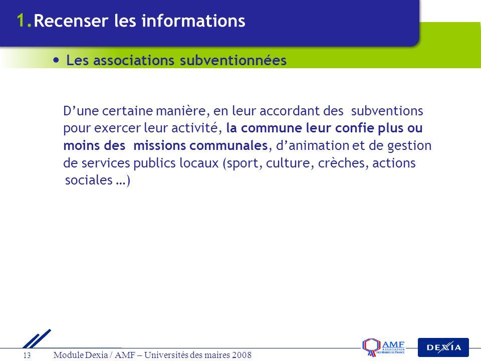 Module Dexia / AMF – Universités des maires 2008 13 Dune certaine manière, en leur accordant des subventions pour exercer leur activité, la commune le