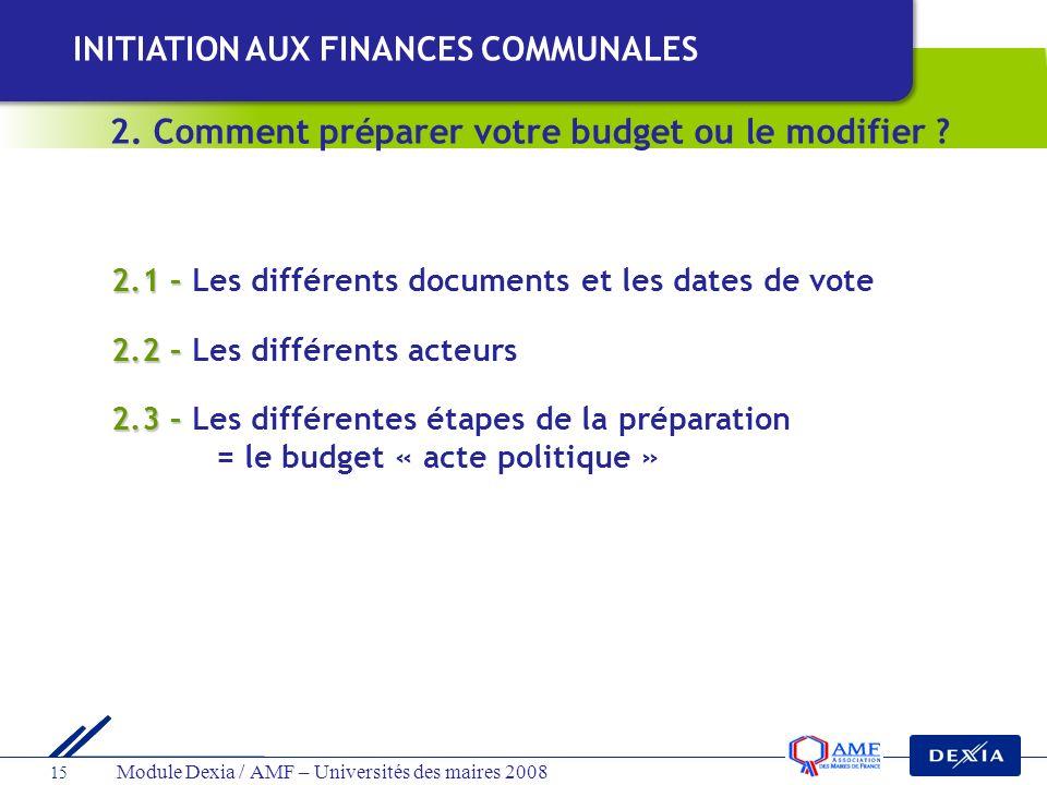 Module Dexia / AMF – Universités des maires 2008 15 2.1 – 2.1 – Les différents documents et les dates de vote 2.2 – 2.2 – Les différents acteurs 2.3 –
