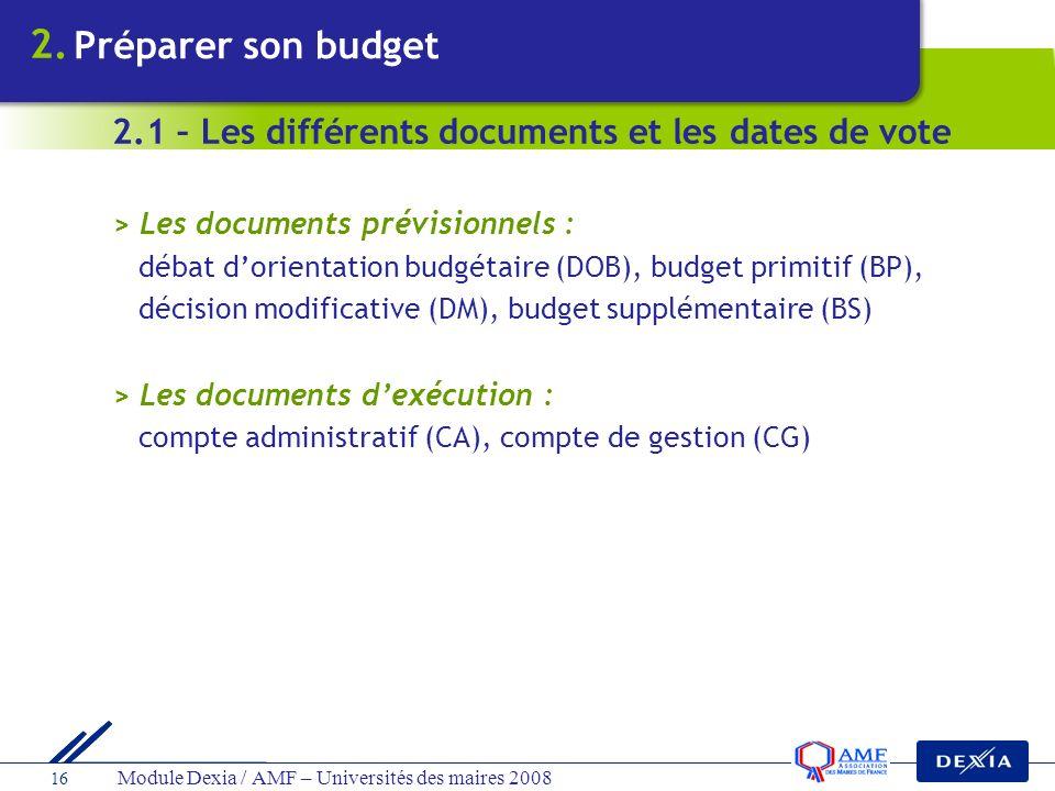 Module Dexia / AMF – Universités des maires 2008 16 > Les documents prévisionnels : débat dorientation budgétaire (DOB), budget primitif (BP), décisio