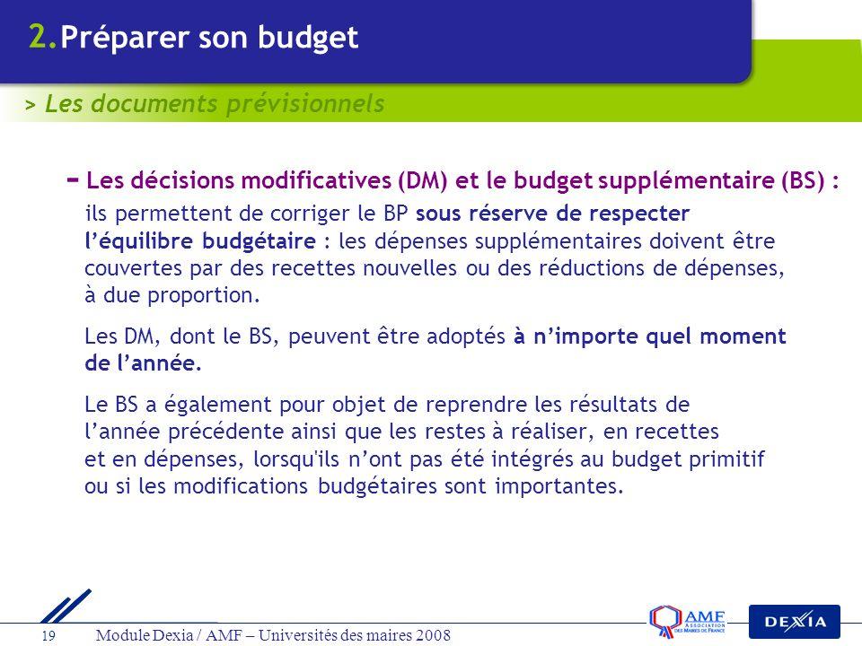 Module Dexia / AMF – Universités des maires 2008 19 - Les décisions modificatives (DM) et le budget supplémentaire (BS) : ils permettent de corriger l