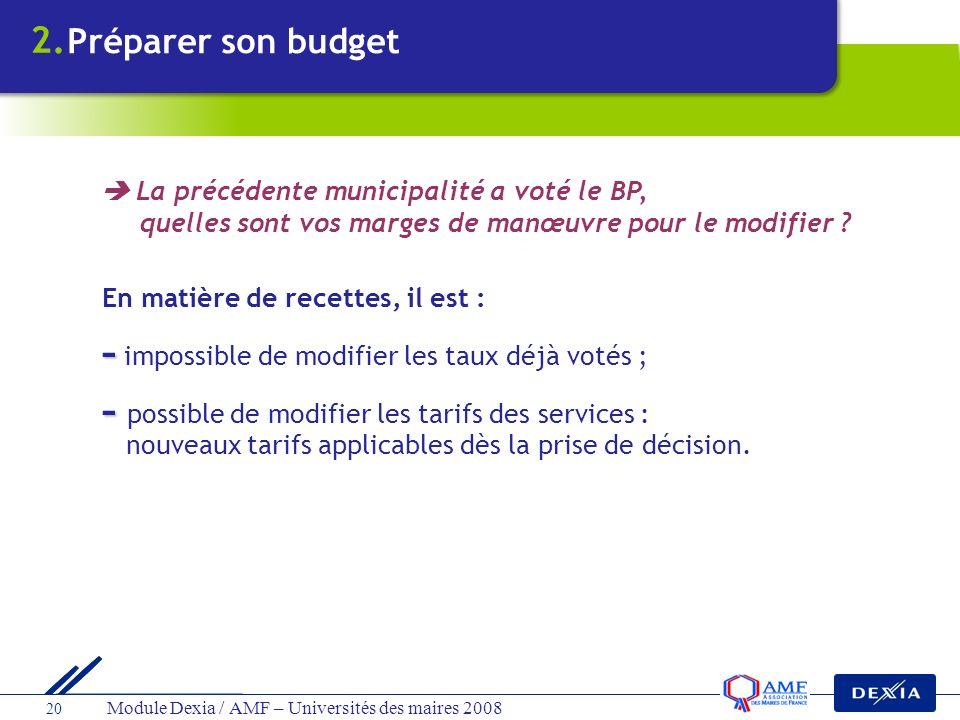 Module Dexia / AMF – Universités des maires 2008 20 En matière de recettes, il est : - - impossible de modifier les taux déjà votés ; - - possible de