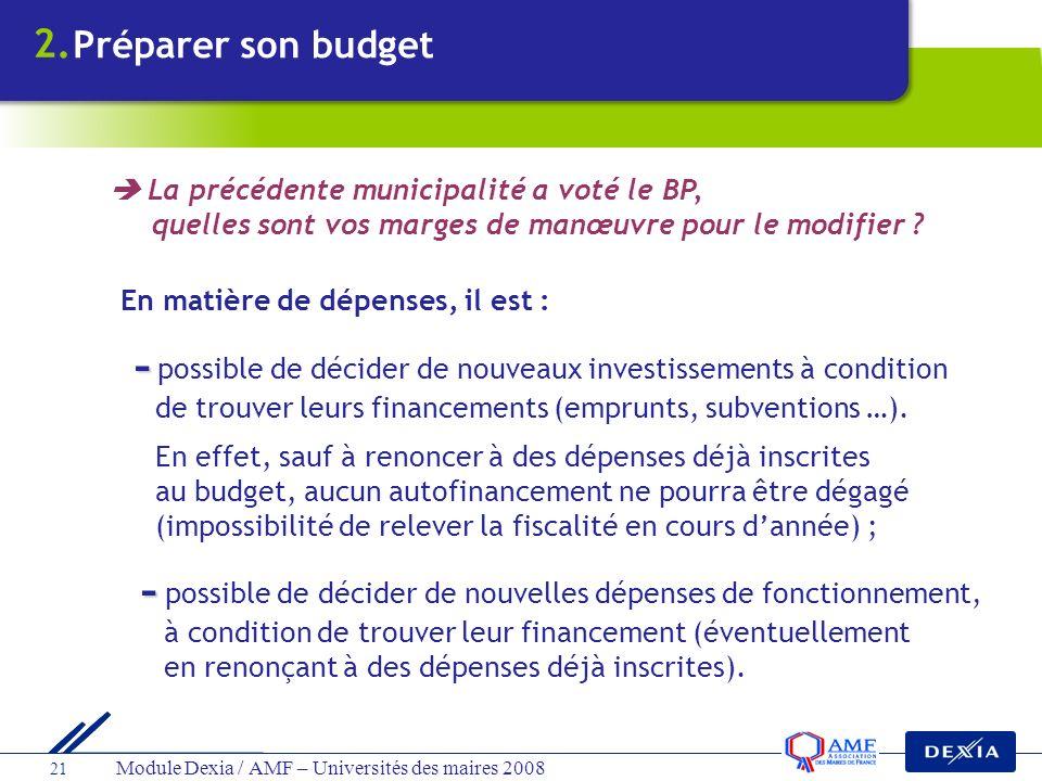 Module Dexia / AMF – Universités des maires 2008 21 En matière de dépenses, il est : - - possible de décider de nouveaux investissements à condition d