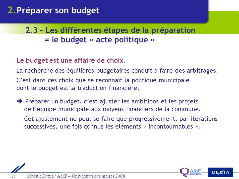 Module Dexia / AMF – Universités des maires 2008 25 Le budget est une affaire de choix. La recherche des équilibres budgétaires conduit à faire des ar