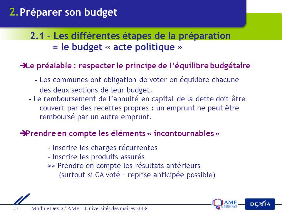 Module Dexia / AMF – Universités des maires 2008 27 Le préalable : respecter le principe de léquilibre budgétaire - Les communes ont obligation de vot