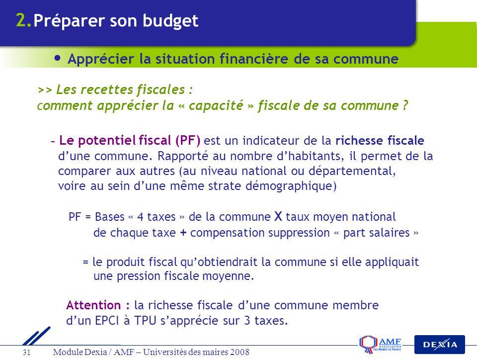 Module Dexia / AMF – Universités des maires 2008 31 - Le potentiel fiscal (PF) est un indicateur de la richesse fiscale dune commune. Rapporté au nomb