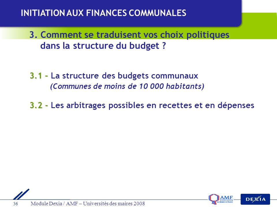 Module Dexia / AMF – Universités des maires 2008 36 3.1 – 3.1 – La structure des budgets communaux (Communes de moins de 10 000 habitants) 3.2 - 3.2 -