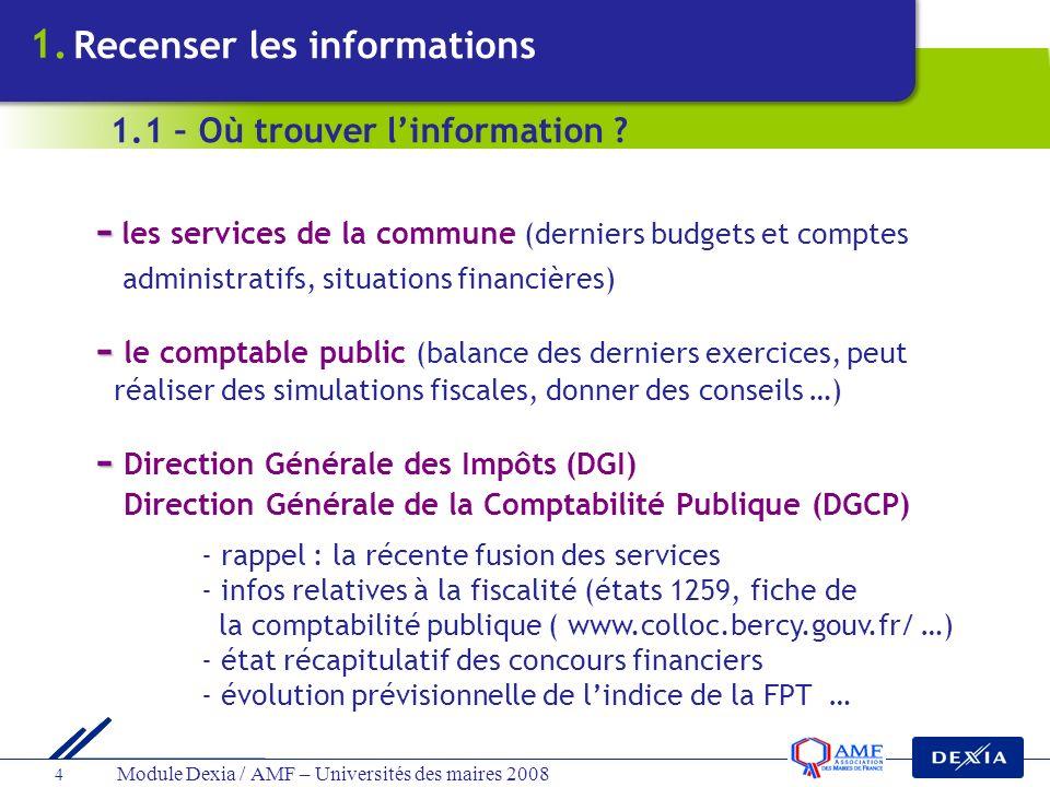 Module Dexia / AMF – Universités des maires 2008 4 - - les services de la commune (derniers budgets et comptes administratifs, situations financières)