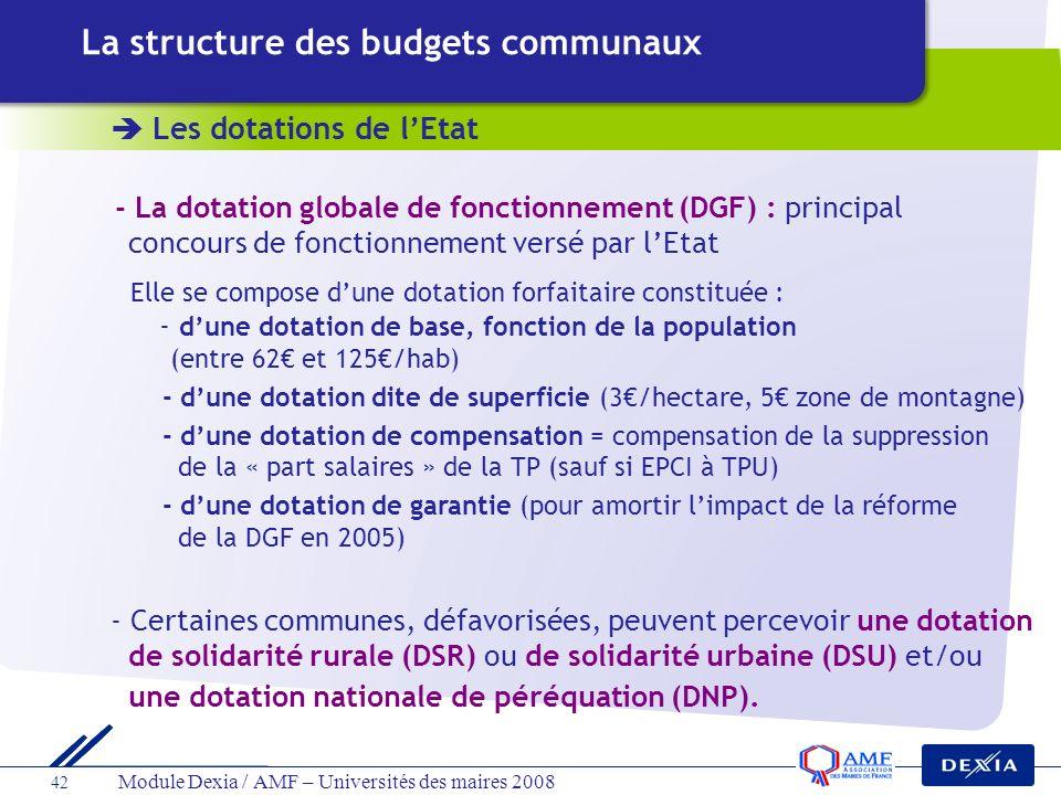 42 Module Dexia / AMF – Universités des maires 2008 Les dotations de lEtat La structure des budgets communaux - La dotation globale de fonctionnement