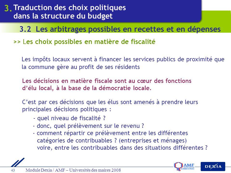 Module Dexia / AMF – Universités des maires 2008 43 >> Les choix possibles en matière de fiscalité Les impôts locaux servent à financer les services p