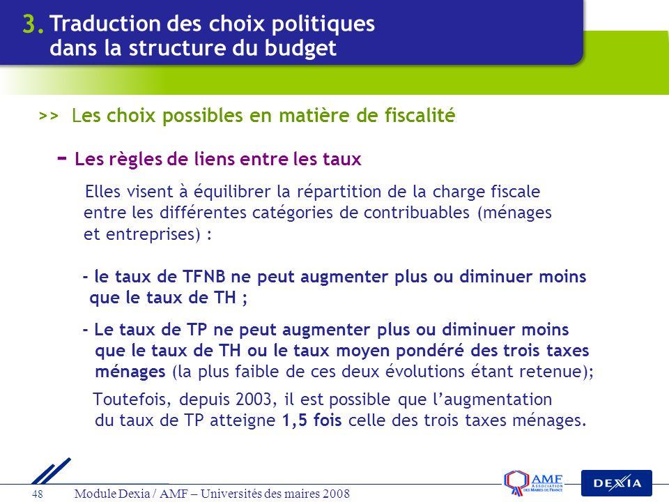 Module Dexia / AMF – Universités des maires 2008 48 - Les règles de liens entre les taux Elles visent à équilibrer la répartition de la charge fiscale