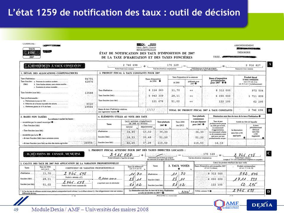 Module Dexia / AMF – Universités des maires 2008 49 Létat 1259 de notification des taux : outil de décision