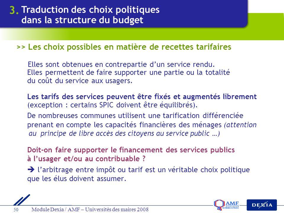 Module Dexia / AMF – Universités des maires 2008 50 >> Les choix possibles en matière de recettes tarifaires Elles sont obtenues en contrepartie dun s