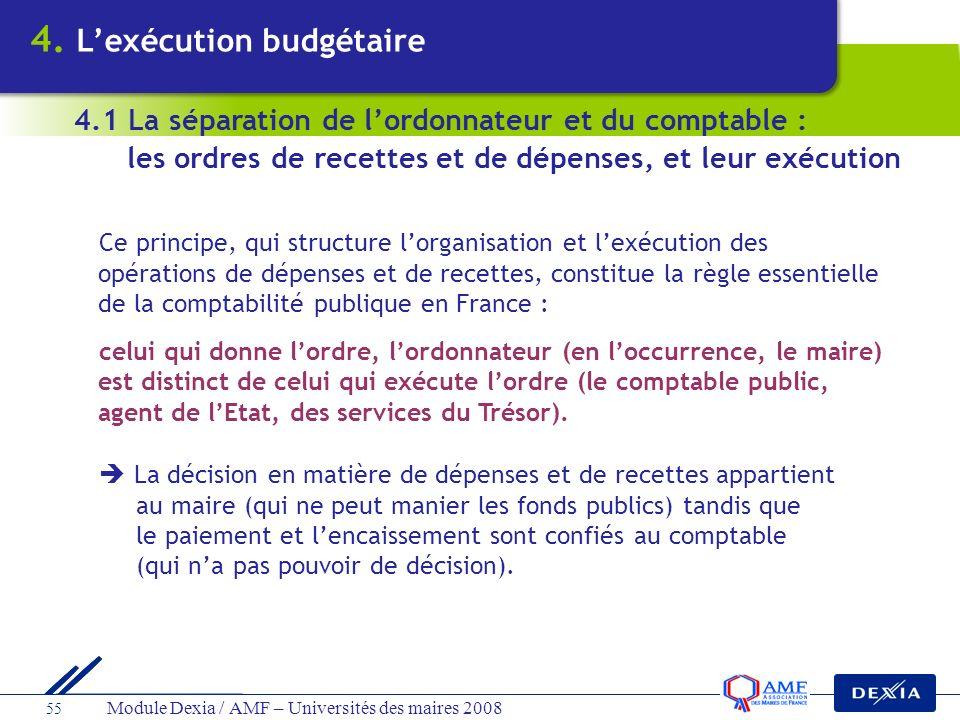 Module Dexia / AMF – Universités des maires 2008 55 Ce principe, qui structure lorganisation et lexécution des opérations de dépenses et de recettes,