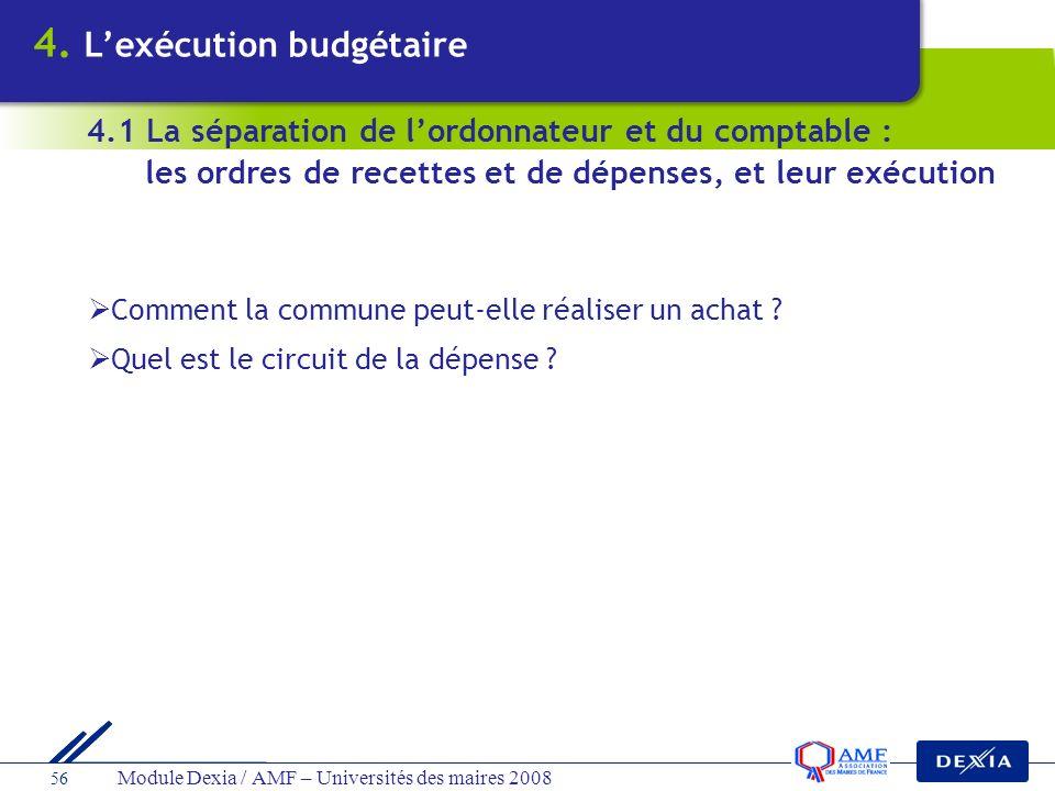 Module Dexia / AMF – Universités des maires 2008 56 Comment la commune peut-elle réaliser un achat ? Quel est le circuit de la dépense ? 4.1 La sépara