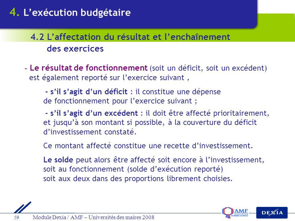 Module Dexia / AMF – Universités des maires 2008 59 - Le résultat de fonctionnement (soit un déficit, soit un excédent) est également reporté sur lexe