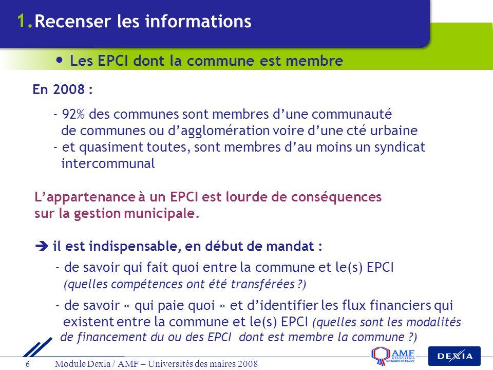 Module Dexia / AMF – Universités des maires 2008 7 aucune compétence obligatoire définie par la loi pas de fiscalité propre, ils sont financés : - par la vente de service (syndicat deau par ex) - ou par les contributions communales : budgétaires ou fiscales NB : une commune peut être membre de plusieurs syndicats > Les syndicats à vocation unique (SIAEP, syndicat délectricité …) ou à vocation multiple (SIVOM) Recenser les informations Les EPCI dont la commune est membre 1.