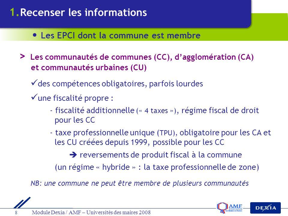 Module Dexia / AMF – Universités des maires 2008 8 des compétences obligatoires, parfois lourdes une fiscalité propre : - fiscalité additionnelle (« 4
