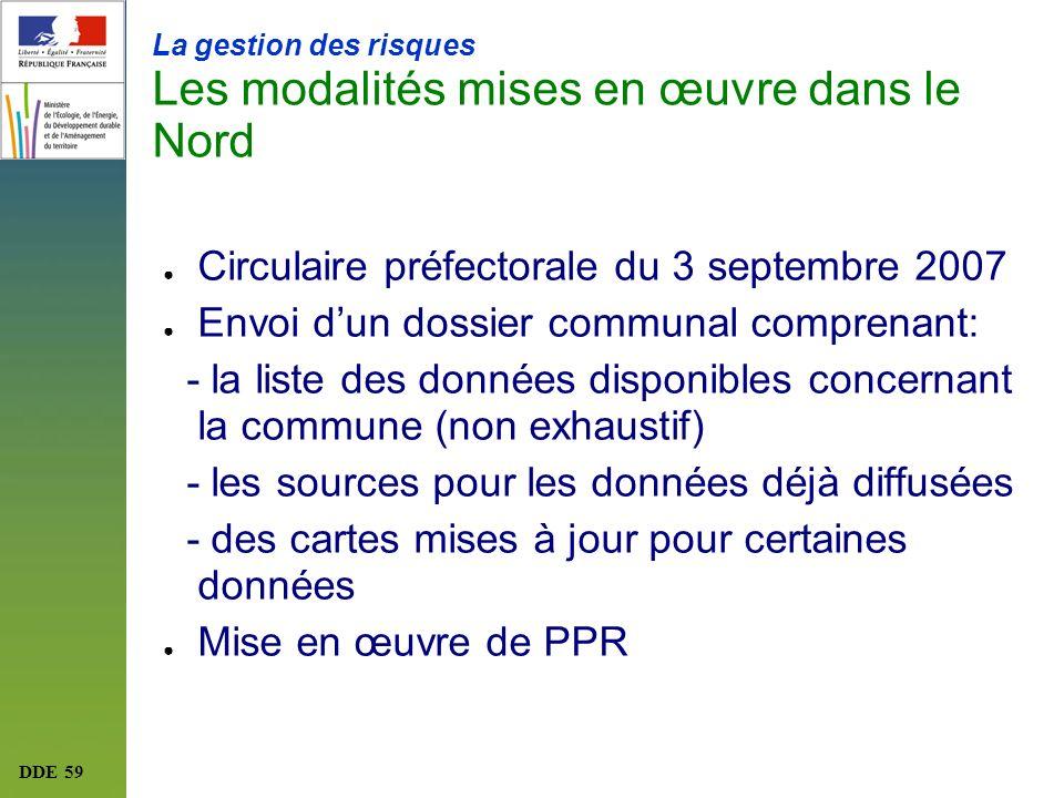 DDE 59 La gestion des risques Les modalités mises en œuvre dans le Nord Circulaire préfectorale du 3 septembre 2007 Envoi dun dossier communal compren